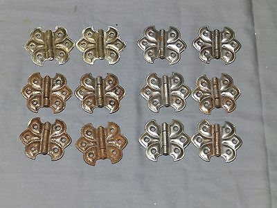 12 Vtg Steel Cabinet Cupboard Surface Mount Butterfly Hinges Hardware 2209-16