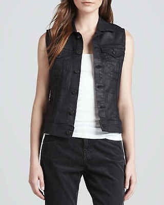 AG Jeans Debbie Vest Coated Leather Black Denim Fitted Size S Small