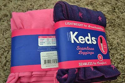 2-Pack KEDS Girl's Size SMALL 4-6 Capri Leggings NEW * STARS and Pink Solid