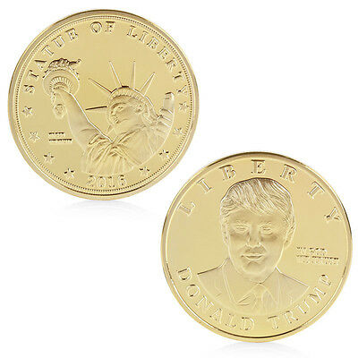 Gold Plated 2016 US Presidential Candidate Donald Trump Commemorative Coin Token