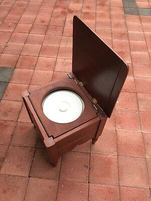 Antique Chamber Pot Chair Wooden And Porcelain Bowl
