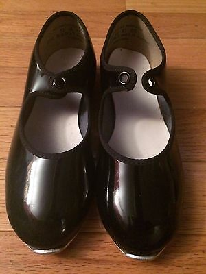 Black Patent Leather Tap Dance Shoes Little Girl's Size 11