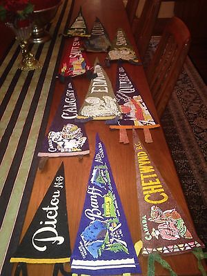 Great collection of 10 VINTAGE FELT TRAVEL SOUVENIR PENNANTS  ALL FROM CANADA