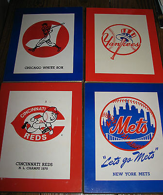 4 Vintage Baseball Logo Wall Plaques, White Sox, Reds, Yankees, 8 by 10 Inches