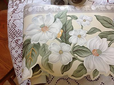 "Williamsburg  Waverly Classics Die-Cut  MAGNOLIAS 6 1/2"" Wallpaper Border"