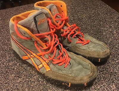 Orange Asics Rulon Gardner Rulons wrestling shoes 9.5