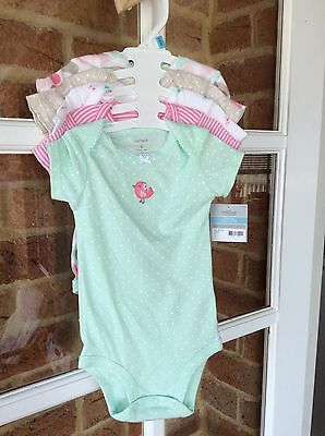 Carter's Baby Girl 5 Pack Bodysuits Size 6 Months (00-0), BNWT!