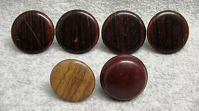 6 Maroon Plastic Bakelite Drawer Pulls Knobs Wood Grain Round Replacements