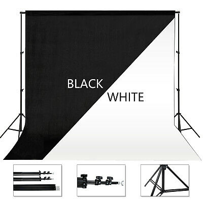 10 x 10 ft Photography Backdrop Stand Background Photo Kit Muslin Black & White