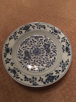 antique Chinese  Canton porcelain Plate ,  Blue And White Hand Painted . 9""