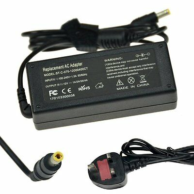 12V 4A 48W AC/DC Adapter Charger Power Supply for PC LCD monitor TV UK Cord/Lead