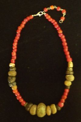 Necklace Pre Columbian Artifacts Colombia beads & red, white heart Colonial