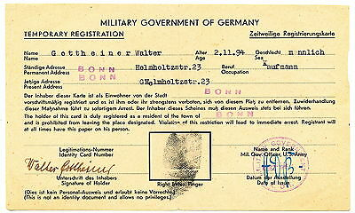 Ausweis - Military Government of Germany - Bonn um 1945 ?