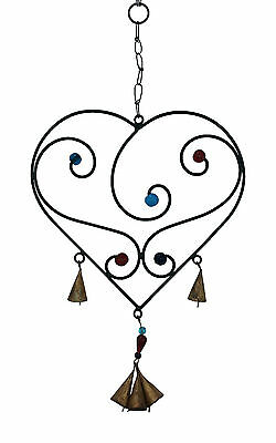 Heart Wind Chime with Glass Beads & Metal Bells, Black Metal, Feng Shui, Hippy