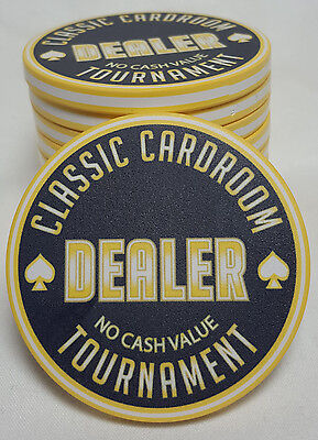 """1x Yellow 60mm Tournament Poker Dealer Button """"Classic Cardroom"""" Neon Look"""