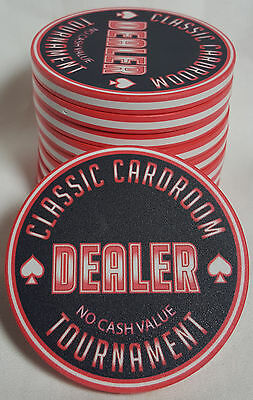 """1x Red 60mm Tournament Poker Dealer Button """"Classic Cardroom"""" Neon Look"""