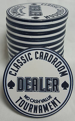 """1x Black White 60mm Tournament Poker Dealer Button """"Classic Cardroom"""" Neon Look"""