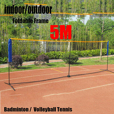 New Foldable Portable 5M Badminton Net Volleyball Tennis Nets With Frame Stand L