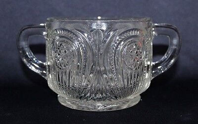 Beautiful Depression Glass Handled Sugar Bowl With Intricate Pattern CCG?