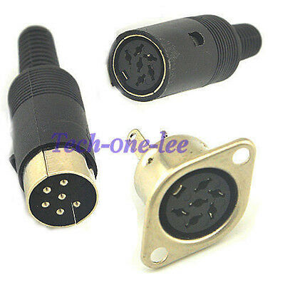 DIN Connector Panel Mount Handle Socket CHASSIS 3 4 5 6 7 PIN Audio Speaker Plug