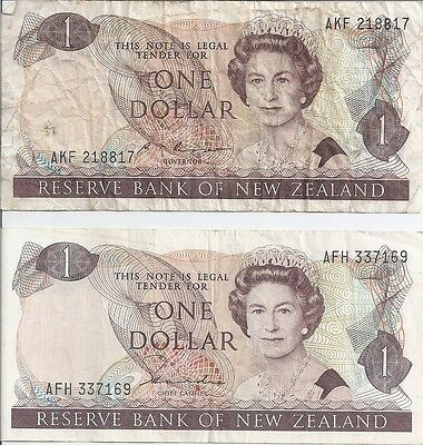 Reserve Bank of New Zealand One Dollar Note Used x 2