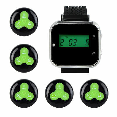 Restaurant Waiter Watch Receiver+5xCall Button Pager for Wireless Calling System