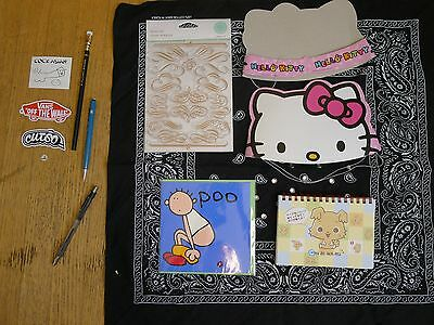 lot hello kitty party hat sanrio notebook stamps martha stewart stickers cards