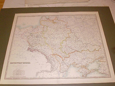 100% ORIGINAL LARGE SOUTH WEST RUSSIA POLAND MAP BY K JOHNSTON C1870/s VGC