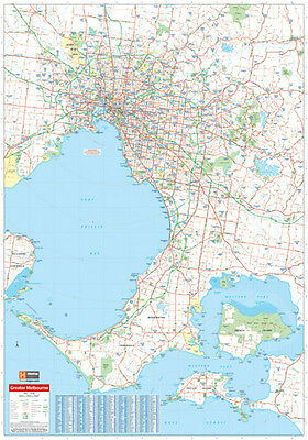 """MAP OF MELBOURNE & REGION laminated POSTER """"LARGE"""" 70cm X 100cm """"ROAD GUIDES NEW"""