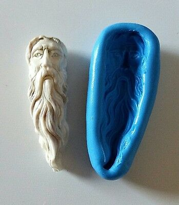 Bearded Spiritual Wise MAN 54 mm Mould Santa Jewellery Making PMC Resin Icing