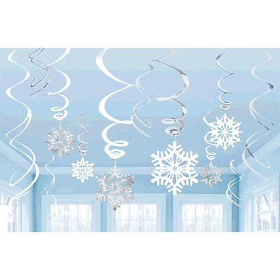 12 Christmas Party Frozen Snowflake Value Hanging Foil Swirl Decorations