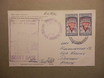 Ross Dependency - Scott Base. Postcard with stamps and special cancels, to Dk.