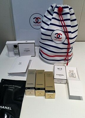 Chanel Makeup bag face products and collectible perfume samples