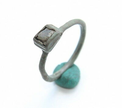 Ancient Medieval Bronze Finger Ring With Inlay (APL)