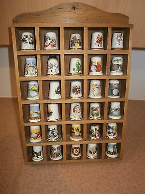 Decorative fine bown china Christmas design Thimble with wooden display holders