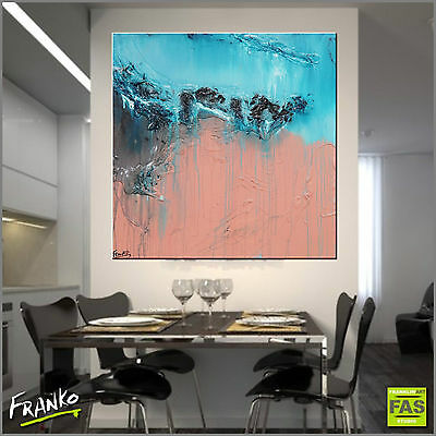 PInk Blue Modern Textured Abstract Painting Art 100cm x 100cm Franko Australia