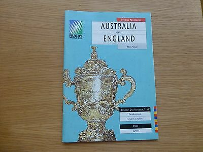 1991 Rugby World Cup final programme. England v Australia. Very good condition.