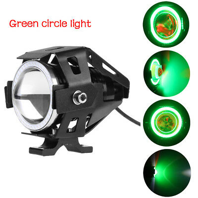 2x 125W Motorcycle Motorbike Headlight Green COB LED Light Driving Fog Spot Lamp
