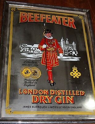 Vintage Beefeater Dry Gin Bar Mirror. Bar Sign