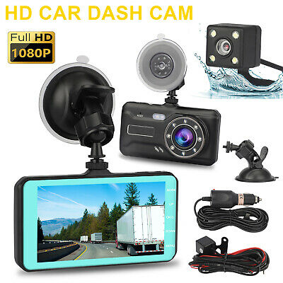 "4"" 1080P HD 170° Dual Lens Car DVR Dash Cam G-sensor Recorder + Rearview Camera"