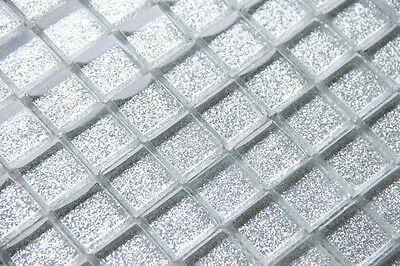 Gliter Silver Glass Mosaic Tile ( SAMPLE )