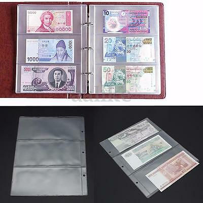 180x80mm Album Pages 3 Pockets Money Bill Note Currency Holder PVC Collection