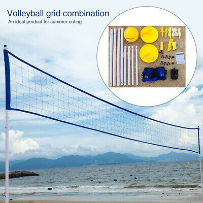 Blue Beach Grassland Volleyball Set 3 Adjustable Height Ball Helston 78200BLU