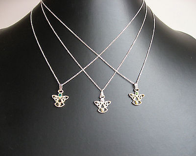 Ladies Girls Childrens SOLID STERLING SILVER 925 ANGEL Pendant & Chain Necklace