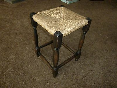 Vintage  Collectable  Wooden   Tall Rush Seated Stool