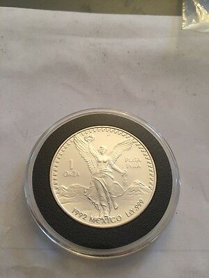 1992 Mexico PROOF 1 Libertad..1 Ounce Silver...10,000 Minted