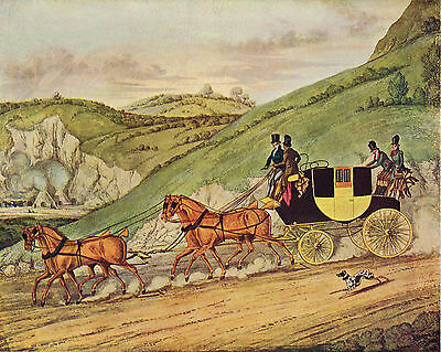 Four In Hand by J. Gleadah after James Pollard Antique 1908 Print