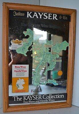 Vintage Julius Kayser Wine German Sign Mirror Map Wall Hanging Advertising
