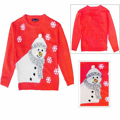 Love Girls Novelty Knitted 3D Snowman Christmas Sweater Crew Neck Xmas Jumper