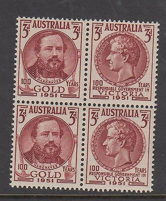 Australia 1951 Centenary Gold Discovery Vic. Mint unhinged block 4 stamps
